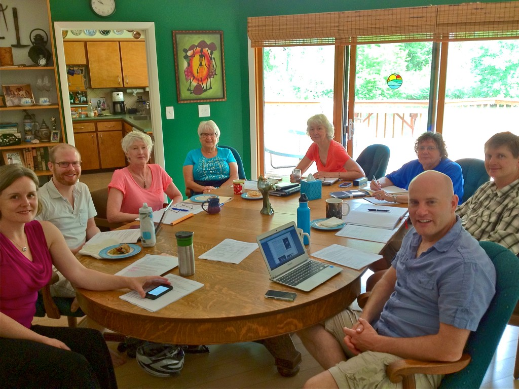 Left to right: Rev. Gretchen Haley (retreat facilitator), Ted Burnham, Diana Maiden, Jenny Fitt-Peaster, Sharon Belew, Barb Richards, Jason English, Jim Rowe (Chair)
