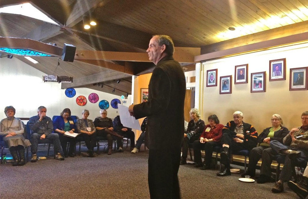 Facilitator Eddy Carroll leads UUCB's Beyond Categorical Thinking workshop on Jan. 4, 2015.